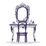 Toilettafel en spiegel Royalty-vrije Stock Foto's