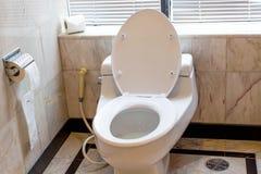 Toilette con sciacquone domestica (ciotola, carta di sciacquone) Fotografia Stock