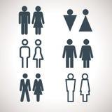 Toilette, die Zeichen anzeigt Vektormänner und -frauen WC-Richtungszeichen Stockbilder