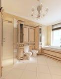 Toilette e bidet in bagno classico Fotografia Stock Libera da Diritti
