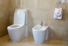 Toilette et bidet Photographie stock