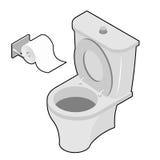 Toilette et rouleau de papier hygiénique Isometrics Accessoires de salle de toilette Images stock