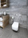 Toilette fixée au mur dans la salle de bains moderne Photographie stock
