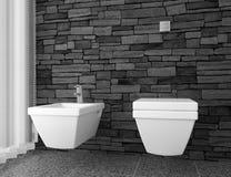 Toilette moderne avec le mur en pierre noir Photographie stock libre de droits