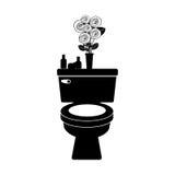 toilette monochrome avec le vase décoratif Photographie stock libre de droits