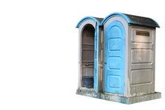 Toilette pubblica su fondo bianco isolato fotografia stock
