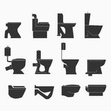 Toilette schreibt Linie Ikonen stock abbildung