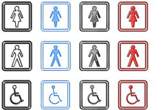 Toilette Signs and Symbols (large). Toilette Signs and Symbols in different materials vector illustration
