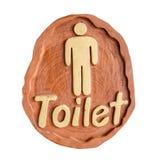 Toilette WC-Zeichen für Männer, handgemacht vom Holz Stockbild