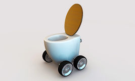 Toilette with wheels Royalty Free Stock Photo