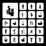 Toiletten- und Hygieneikonen Lizenzfreie Stockbilder