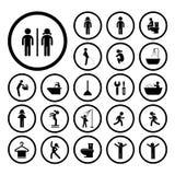 Toiletten- und Hygieneikonen Stockbilder