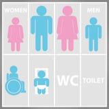 Toiletten-Zeichen mit Toilette, Männer und Frauen WC Stockbilder