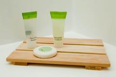 Toilettenartikel auf Tellersegment Stockbild