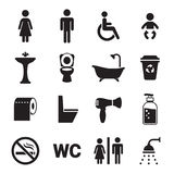 Toilettenikonen eingestellt Lizenzfreie Stockbilder