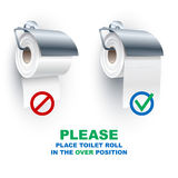Toilettenpapier-Rollenspindel darunter über Positions-Regeln Lizenzfreie Stockbilder