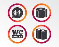 Toilettenpapierikonen Herren und Damentoilette vektor abbildung
