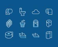 Toilettenpapierrolle, flache Linie Ikonen des Tuches Hygieneillustrationen, bewegliches WC, Toilette, Baum überlagerten Serviette Lizenzfreie Abbildung