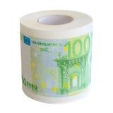 Toilettenpapierrolle von Isolat notesl Bank des Euros 100 Lizenzfreies Stockbild