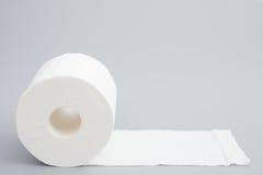 Toilettenrolle auf Grau Lizenzfreies Stockfoto