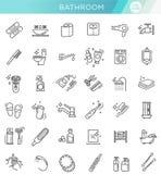 Toilettes, ensemble d'icône de salle de bains Ligne vecteur d'actions de style Photographie stock libre de droits