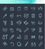 Toilettes, ensemble d'icône de salle de bains Ligne vecteur d'actions de style Photo stock