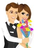 Toilettez donner à sa jeune mariée un bouquet des fleurs illustration stock