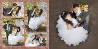 Toilettez et la jeune mariée en parc dans leur jour du mariage photos libres de droits