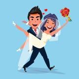 Toilettez la jeune mariée de transport la tenant dans des ses bras amour et c de épouser illustration stock