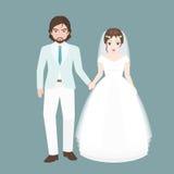 Toilettez le bras de promenade dans le bras avec le pont, couple d'amant dans le concept de costume de mariage illustration de vecteur