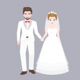 Toilettez le bras de promenade dans le bras avec le pont, couple d'amant dans le concept de costume de mariage illustration stock