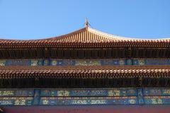 Toit carrelé et façade décorés d'un modèle chinois Palais dans la ville interdite, Pékin photos stock