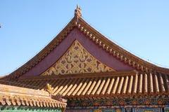Toit carrelé et façade décorés d'un modèle chinois Palais dans la ville interdite, Pékin images stock