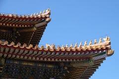 Toit carrelé et façade décorés d'un modèle chinois Palais dans la ville interdite, Pékin images libres de droits