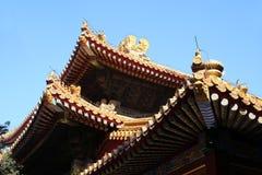 Toit carrelé et façade décorés d'un modèle chinois Palais dans la ville interdite, Pékin image stock