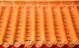 Toit chinois en céramique orange Photos stock