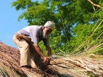 Toit couvrant de chaume au Kerala, Inde Photos stock