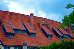 Toit d'un bâtiment médiéval de cadre photos stock