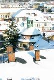 Toit de Prague avec la neige Photographie stock