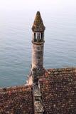 Toit de tuile médiéval avec la tourelle, Chateau de Chillon, Suisse photos stock
