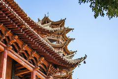 Toit en bois de chinois traditionnel image stock