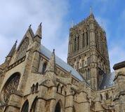Toit et tour de cathédrale de Lincoln Photo stock
