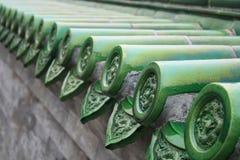 Toit vert chinois photographie stock
