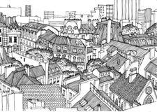 Toits de Paris d'en haut Les graphiques linéaires noirs et blancs, se perfectionnent pour le fond dans la publication, affiches,  illustration de vecteur