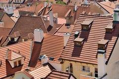 Toits de tuile de la vieille ville Prague Image libre de droits