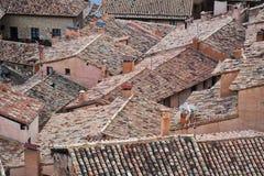 Toits de ville d'albarracin à Teruel images stock