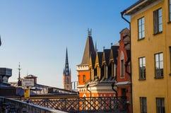Toits des bâtiments typiques de la Suède, Stockholm, Suède photos libres de droits