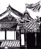 Toits des temples croquis Images libres de droits