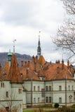 Toits pointus de château de Shenborn, Ukraine photo libre de droits