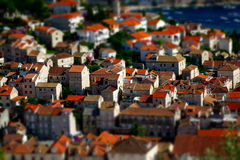 Toits rouges de ville de Hvar (île Croatie de Hvar) Photo stock